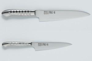 Set of knives Kanetsugu 5003 Santoku & Kanetsugu 5001 Petty. Stainless steel. Japan
