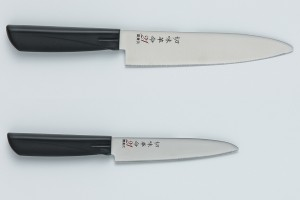 Set of knives Kanetsugu 1012 Chef's knife & 1016 Petty. Stainless steel. Made in Japan