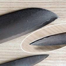 Repair and sharpening the Chef's pair SAIUN Damascus Santoku 9003 and Paring 9000