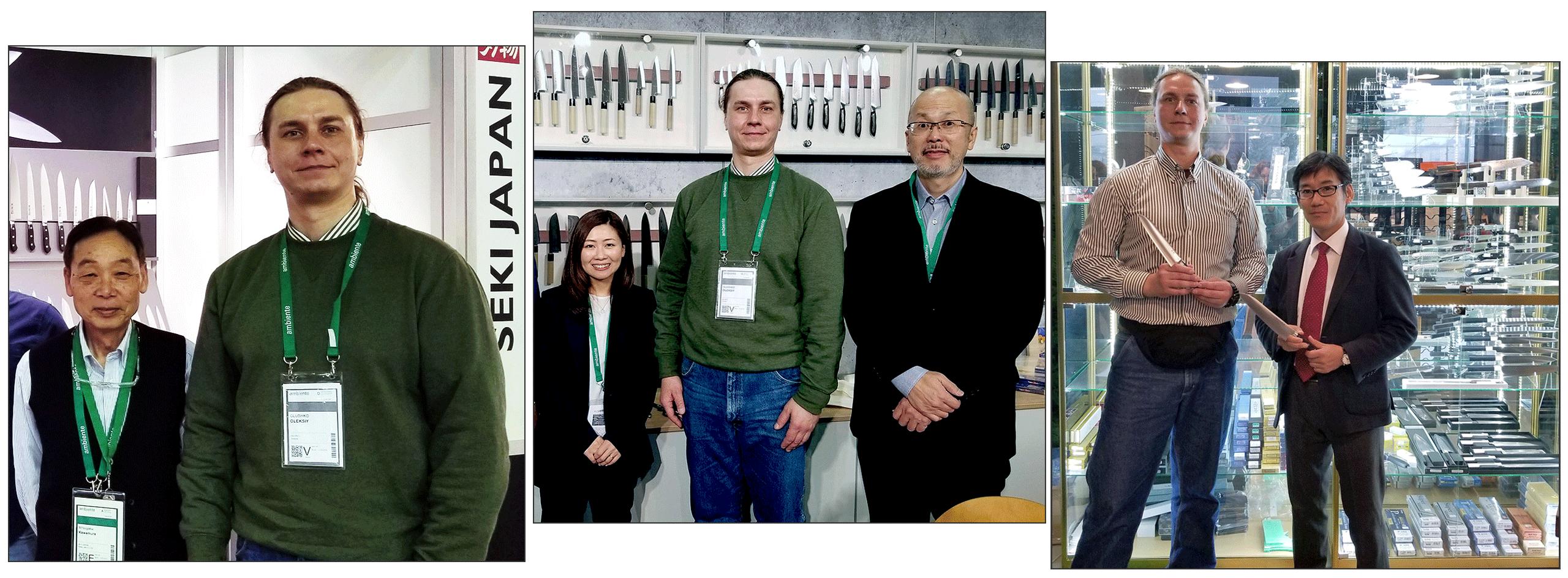 Photos with our partners - The representatives of companies: Seki Kanetsugu, Tojiro, Hokiyama Cutlery