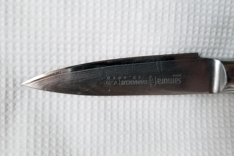 Samura VG-10 vegetable knife sharpening and tip repair photo 2